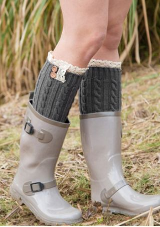 Lace Splicing Button Knitted Long Socks