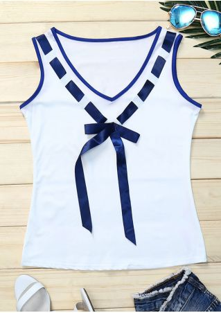 Splicing Bowknot V-Neck Tank