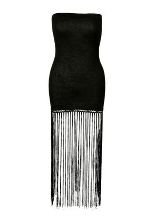 Solid Fringe Strapless Bodycon Dress