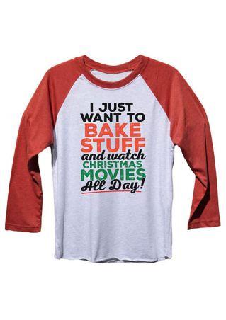 Christmas Plus Size I Just Want To Bake Stuff Baseball T-Shirt