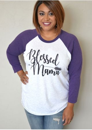 Plus Size Blessed Mama Arrow Baseball T-Shirt