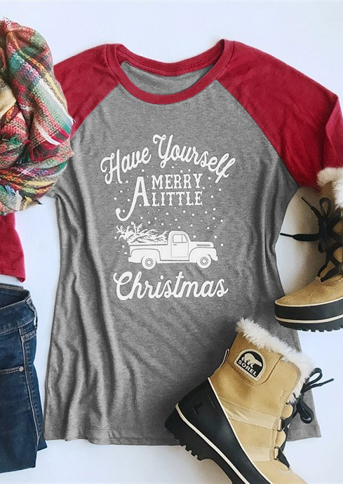 Have Yourself Merry A Little Christmas Baseball T-Shirt фото