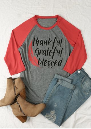 Plus Size Thankful Grateful Blessed Baseball T-Shirt