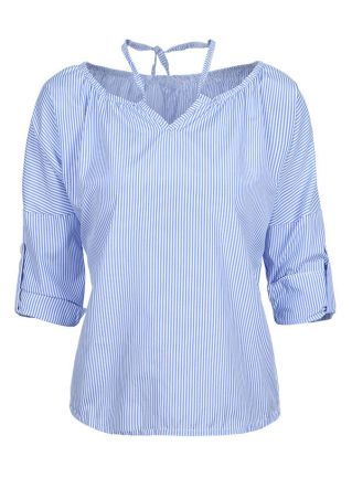 Striped Tab-Sleeve Tie Blouse