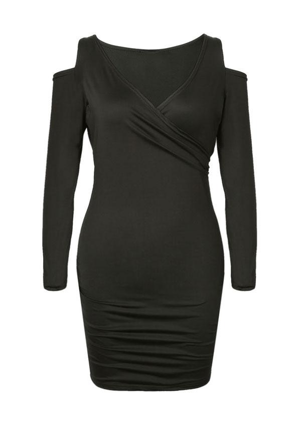 Solid Cold Shoulder Wrap Bodycon Dress 39257