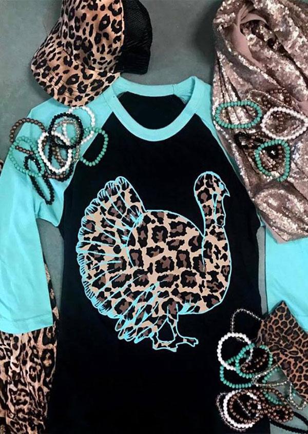 Leopard Printed Gobbler Baseball T-Shirt Tee – Black