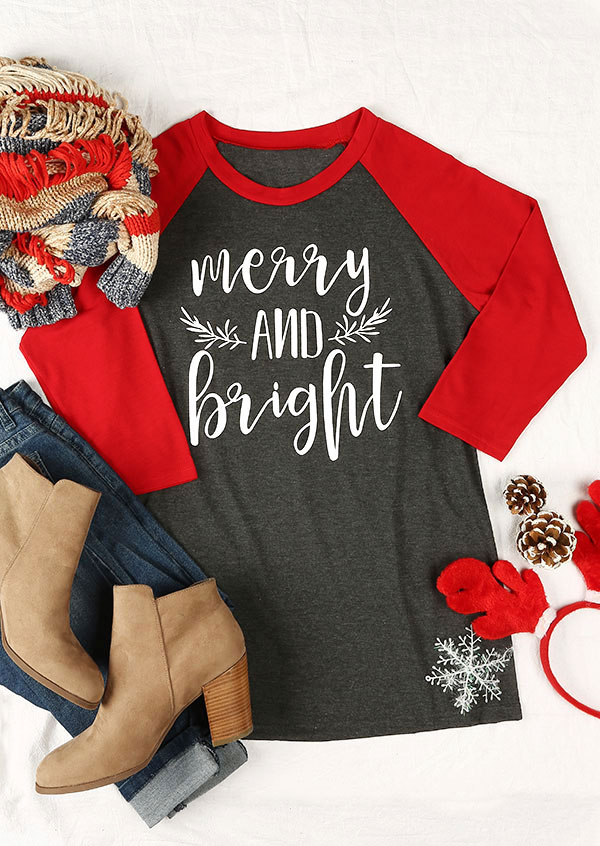 Christmas Merry And Bright Baseball T-Shirt