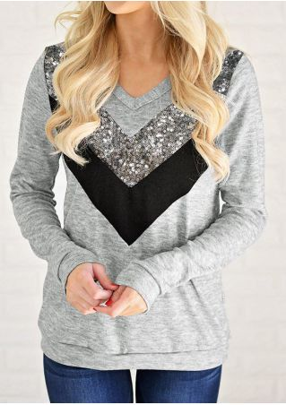 Color Block Applique V-Neck Sweatshirt