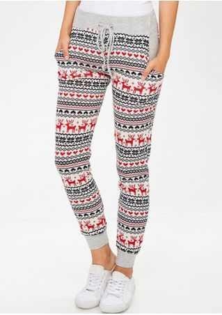 Christmas Reindeer Drawstring Sport Pants