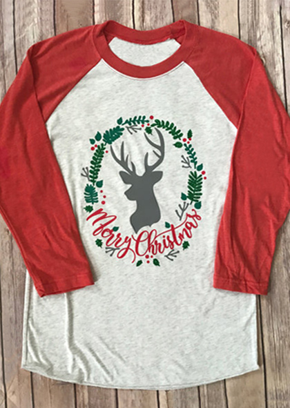 Merry Christmas Reindeer Baseball T Shirt Fairyseason