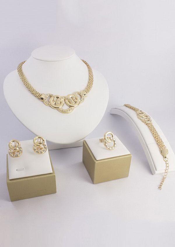 4Pcs 18k Gold Plated Jewelry Set Fairyseason