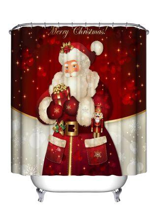 Christmas Santa & Snowman Waterproof Shower Curtain With Hook