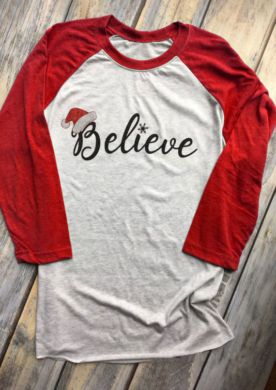 Christmas Believe Santa Hat Baseball T Shirt Fairyseason