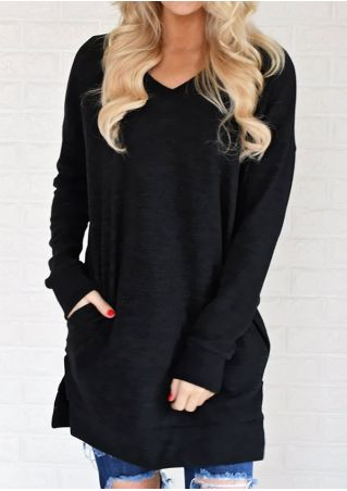 Solid Pocket Slit V-Neck Sweatshirt