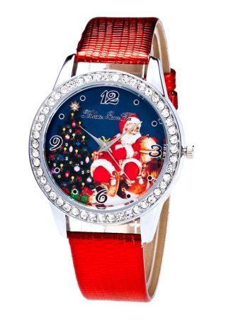 Christmas Santa Claus Imitated Crystal Leather Strap Band Watches