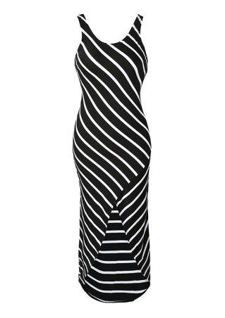 Striped Asymmetric Backless Sleeveless Maxi Dress