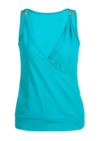 Solid Wrap Deep V-Neck Tank