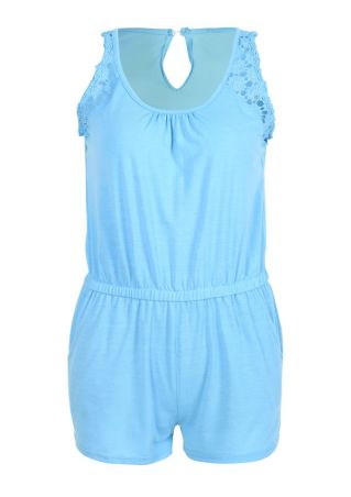 Solid Lace Splicing Sleeveless Romper
