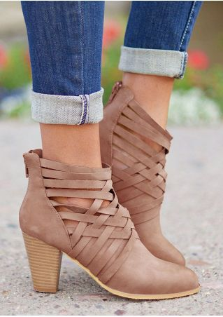 Solid Cross Zipper Heeled Boots