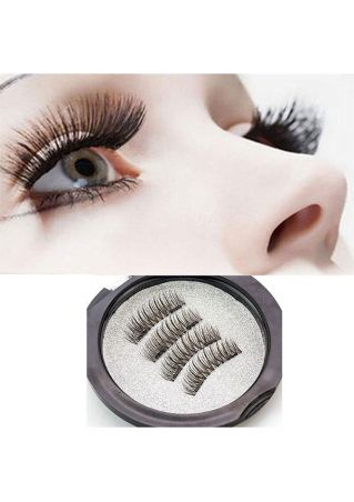 4 Pcs 3D Magnetic Reusable Free Glue False Eyelashes Extension