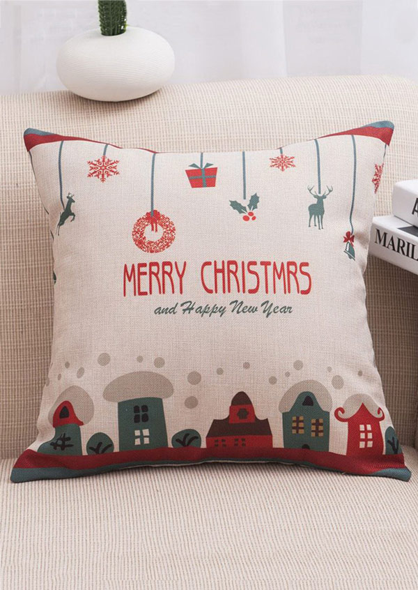 Image of Christmas Cartoon Linen Cushion Pillow Case