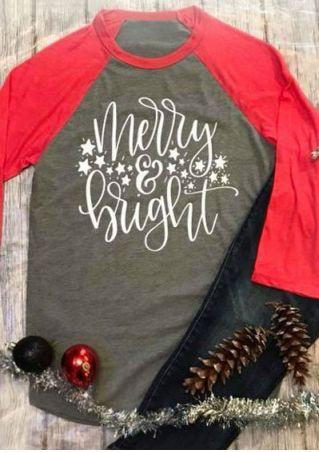 Christmas Plus Size Merry & Bright Baseball T-Shirt