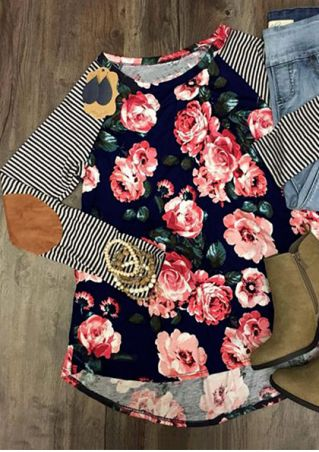 Plus Size Floral Striped Splicing Elbow Patch Baseball T-Shirt