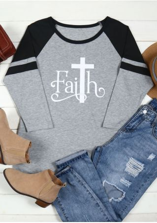 Plus Size Faith Striped Detail O-Neck Baseball T-Shirt