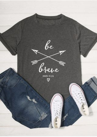 Plus Size Be Brave Arrow O-Neck Short Sleeve T-Shirt