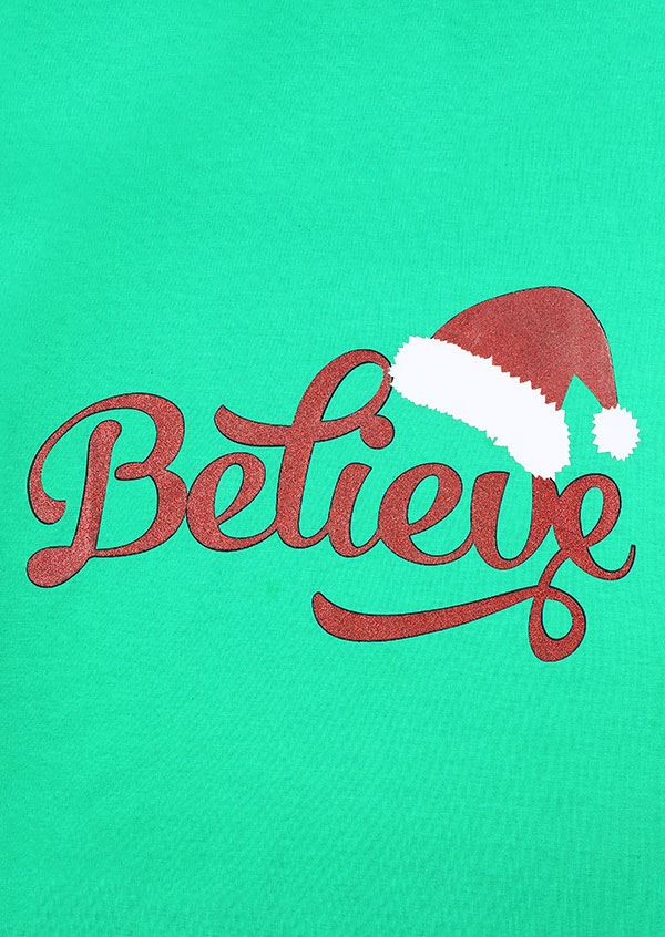 Christmas Believe Santa Hat Striped Baseball T Shirt