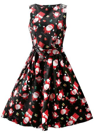 Christmas Santa Claus Sleeveless Casual Dress