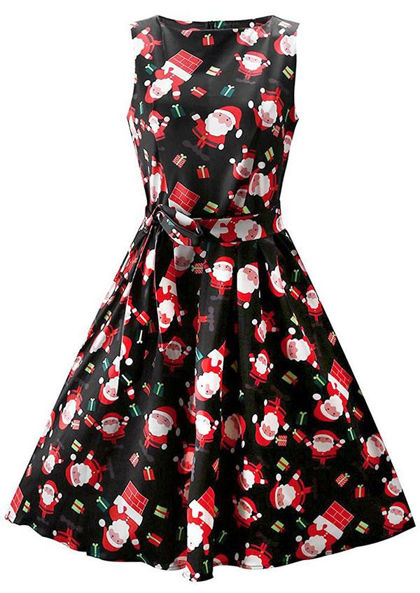 Christmas santa claus sleeveless casual dress fairyseason