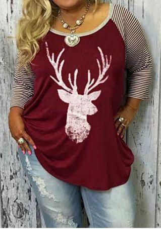 christmas plus size reindeer baseball t shirt without necklace fairyseason