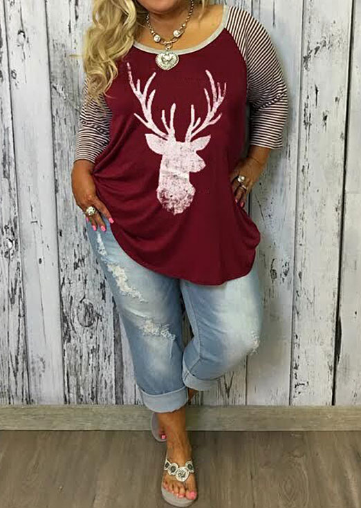 Image of Christmas Plus Size Reindeer Baseball T-Shirt without Necklace