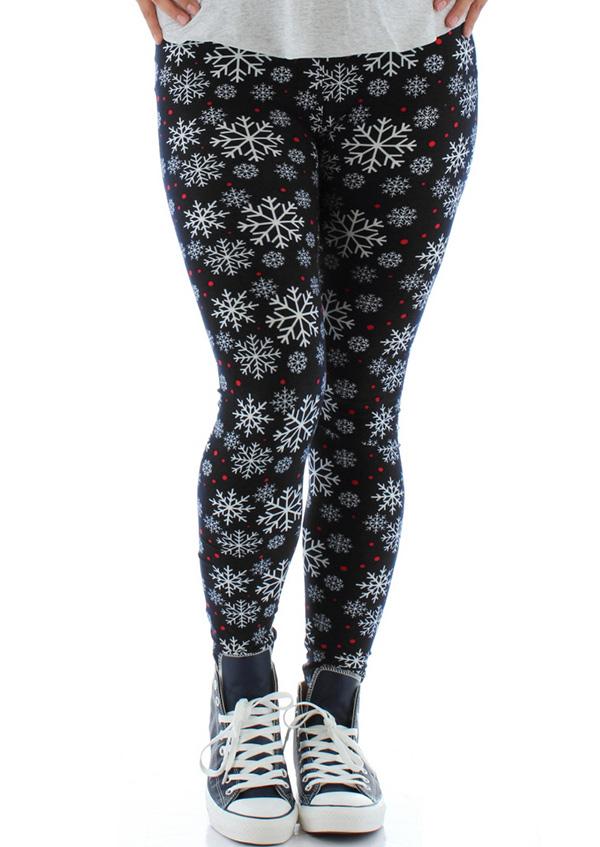 christmas plus size snowflake elastic waist leggings zoom - Plus Size Christmas Leggings
