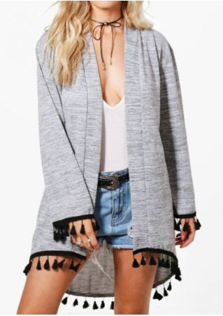 Tassel Splicing Asymmetric Cardigan without Necklace