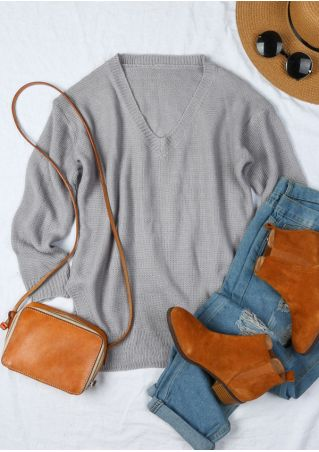Solid Long Sleeve V-Neck Sweater