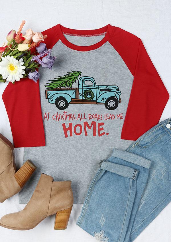Christmas All Roads Lead Me Home Baseball T Shirt