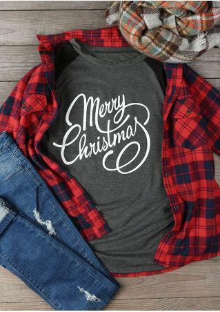 Plus Size Merry Christmas O-Neck Baseball T-Shirt