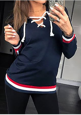 Color Block Lace Up Hoodie without Necklace