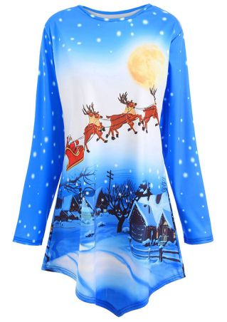 Christmas Plus Size Reindeer Asymmetric Blouse