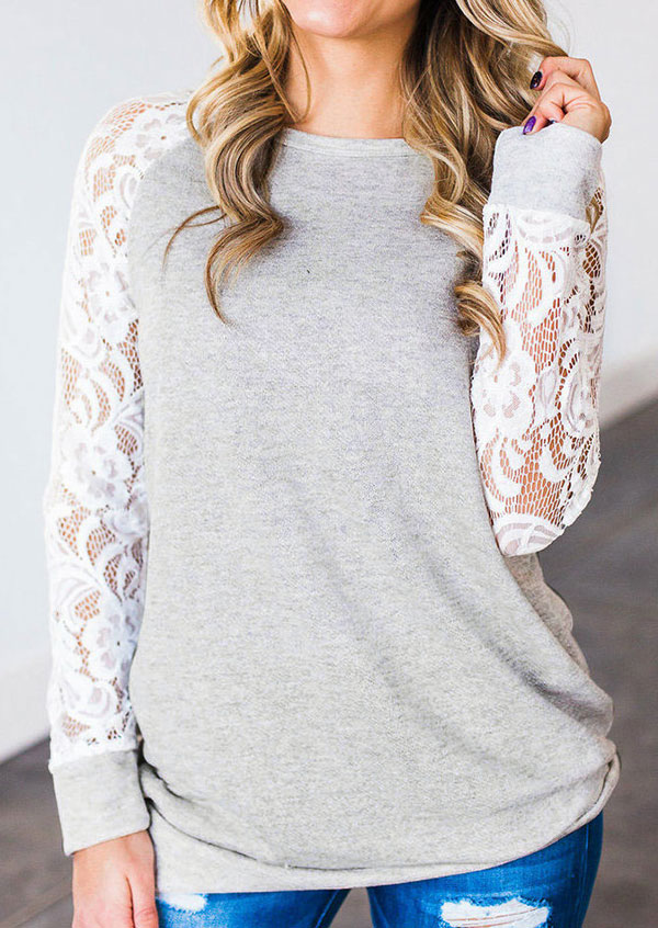 Lace Floral Splicing O-Neck T-Shirt thumbnail