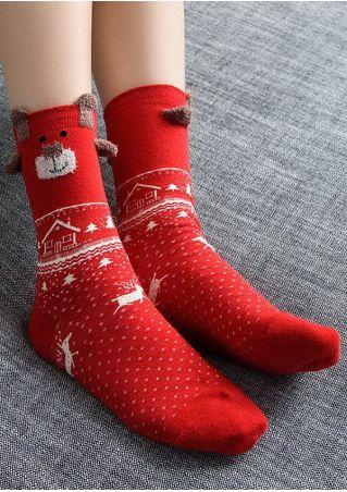 Christmas Reindeer Snowflake Bear Socks