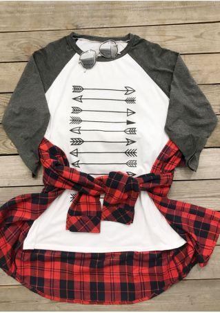Plus Size Arrow Printed Three Quarter Sleeve Baseball T-Shirt