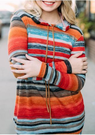 Striped Drawstring Elbow Patch Hoodie without Necklace