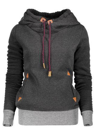 Plus Size Splicing Drawstring Pocket Long Sleeve Hoodie
