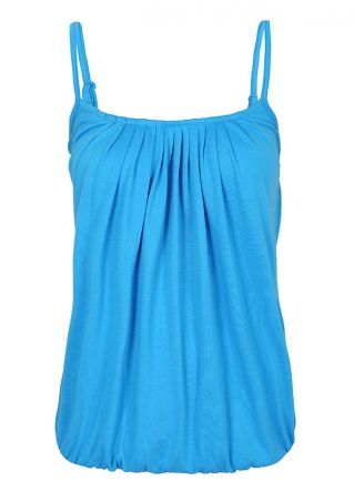 Solid Ruched Adjustable Strap Camisole
