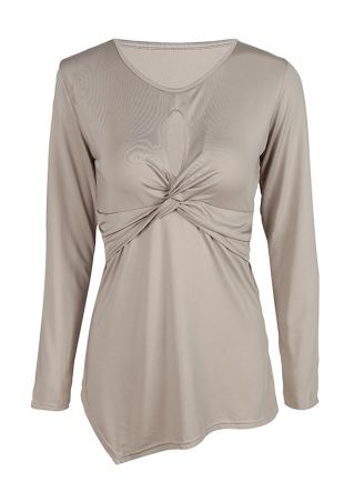 Solid Hollow Out Asymmetric V-Neck Blouse
