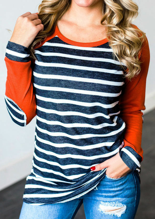 Striped Elbow Patch Baseball T Shirt Fairyseason