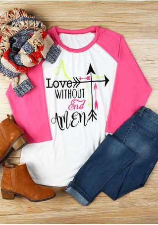 Plus Size Love Without End Amen Arrow Baseball T-Shirt